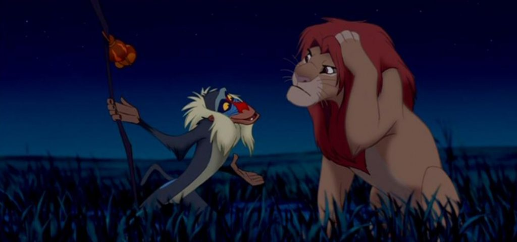 Rafiki and Simba discussing life lessons